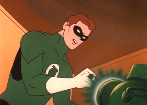 Green Lantern powers up his ring from the lantern