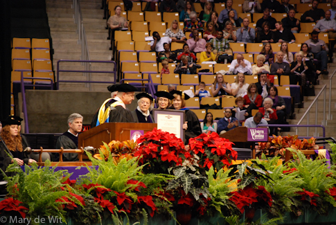 Chancellor David O. Belcher awards the Honorary Doctor of Humane Letters to Dr. Jane B. Schulz and to William R. Schulz (posthumously)
